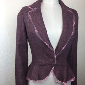 Warehouse Brand Peplum Jacket Lace Trim Sz M. D